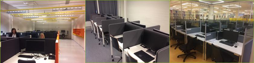 Kolme kuvaa korkeakoulujen EXAM-tenttitiloista, joissa useita tietokoneita on erotettu sermeillä toisistaan.